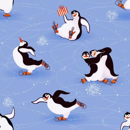 penguin cartoon: Penguins skating seamless pattern