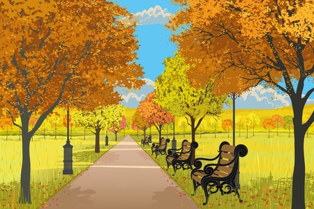 Illustration of the park with the footpath, benches, streets lamps and trees in autumn