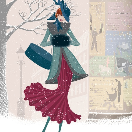 antique fashion: Illustration of elegantly dressed woman with box walking down the street in blizzard Illustration
