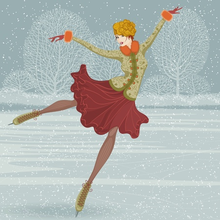 Illustration in a retro style with beautiful woman skate on ice
