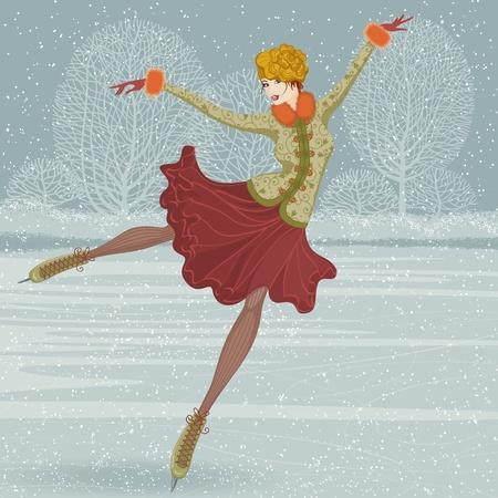 patinaje sobre hielo: Ilustraci�n en un estilo retro con hermosa mujer patinar sobre hielo  Vectores