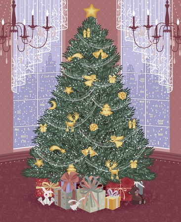 christmas room: Decorated christmas tree with presents around it in the living room Illustration