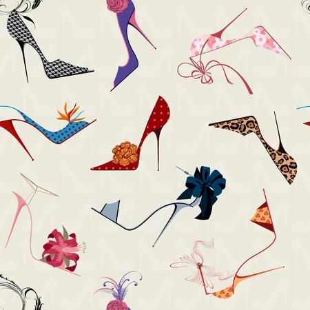 Patrón sin fisuras con zapatos de tacón alto de las mujeres