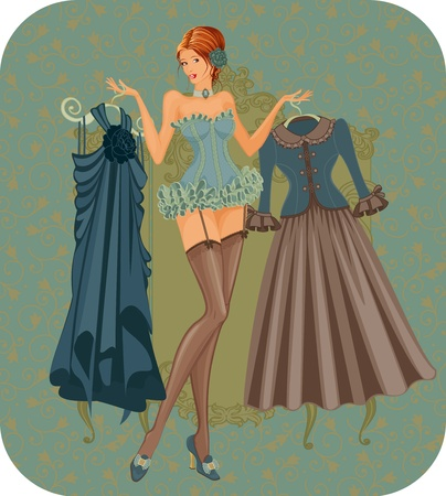 Ilustración de una hermosa mujer en corsé con vestidos de estilo vintage Ilustración de vector