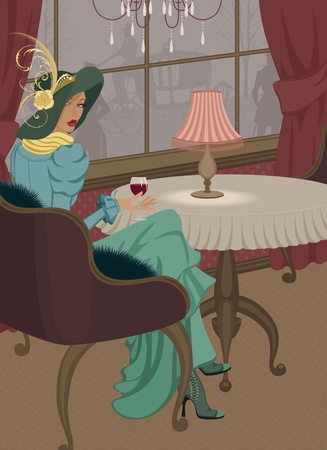 antique fashion: Woman with glass of red wine at restaurant in old-fashioned style Illustration