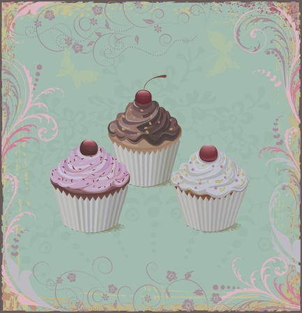 chocolate cupcakes: Cupcakes over grunge floral background in old-fashioned style Illustration