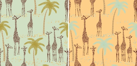 Two giraffes seamless patterns in a retro style Vector