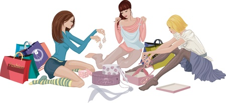 Three girls looking at purchased clothing and accessories sitting on the floor Vector