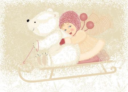 toboga: Bambina con slitte trainate da cucciolo orso polare Vettoriali