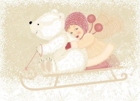 snow sled: Little girl with cub polar bear sledding
