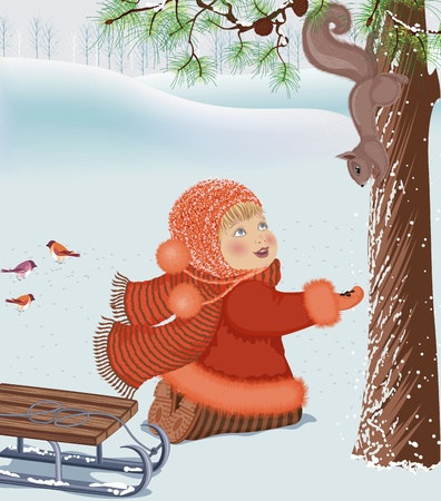 Little girl feeding a squirrel at a winter park Stock Vector - 10988025