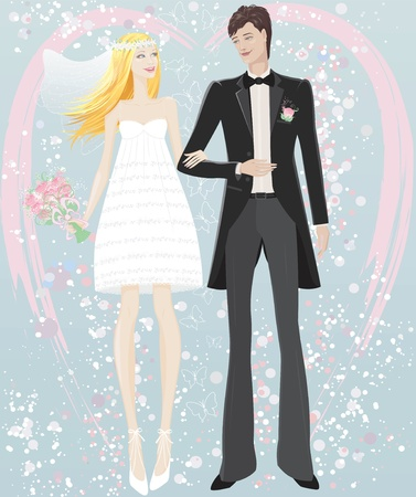 handsome young man: Wedding couple Illustration