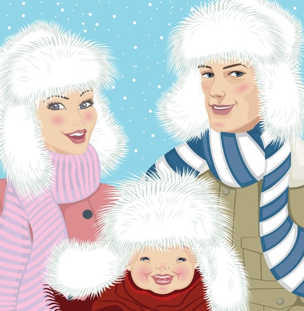 woman fur: Family portrait outdoors in winter