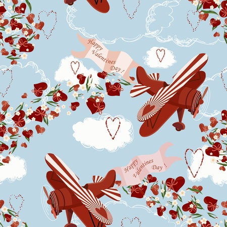 Background with biplanes throwing valentines and flowers Vector