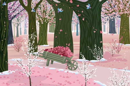 Blooming forest on Valentine Vector