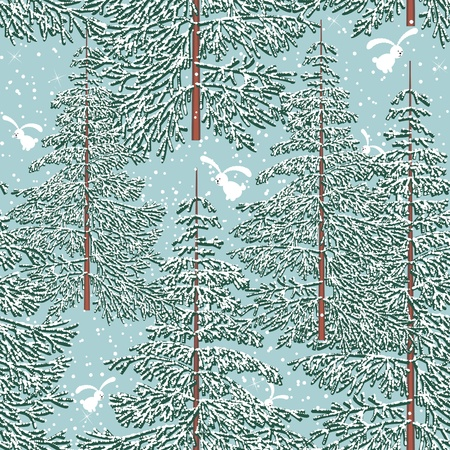 Seamless pattern with winter forest and rabbits Vector