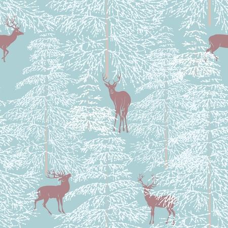 arbre     ? � feuillage persistant: Seamless avec la for�t en hiver et le renne