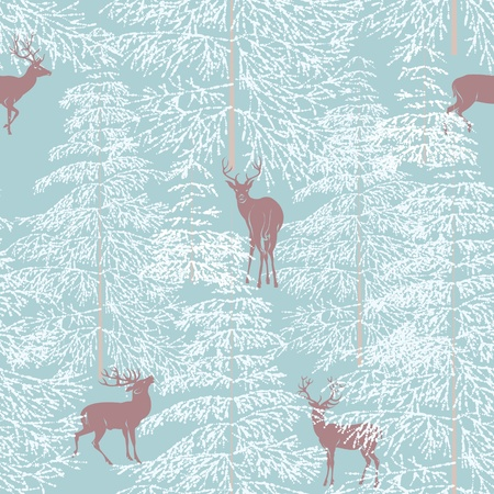 Seamless pattern with winter forest and reindeer Vector