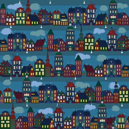 row of houses: Patr�n sin fisuras con m�ltiples casas de colores en la ciudad de noche