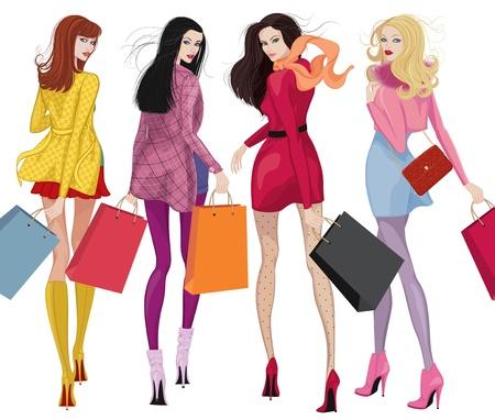 흰색 배경 위에 쇼핑 가방을 가진 네 명의 아름다운 젊은 여성