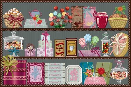 cafe bombon: Cajas y latas de bombones, tarros de dulces y pasteles y cestas con dulces en los estantes de una tienda