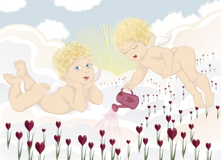 Couple of cute angels growing valentines on clouds Vector