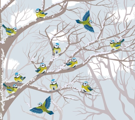 Flock of blue tits perching on branches of trees Illustration