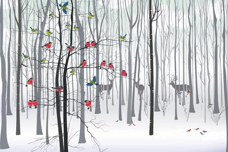 Weihnachtsbaum mit Herde von Gimpel und Meisen im Wald eingerichtet