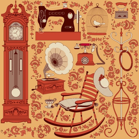 grandfather clock: Collection of retro appliances and furniture decorated with floral patterns