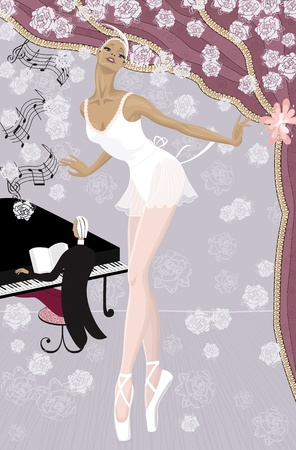 Graceful ballerina on the stage showered with flowers and  pianist at the piano in the background Vector