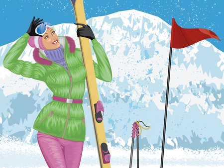 Beautiful skier with skis on top of snowy mountain Illustration