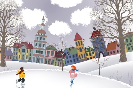 Little girl and little boy skating at the rink in front of the houses Vector