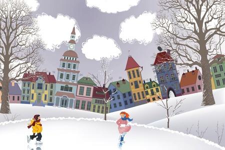 niño en patines: Niña y niño de patinaje en la pista por delante de las casas Vectores