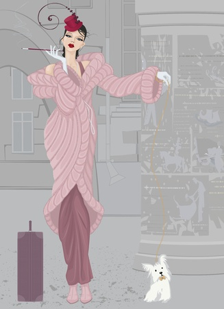 house coat: Beautiful elegant young woman in pink fur coat with a small shaggy dog
