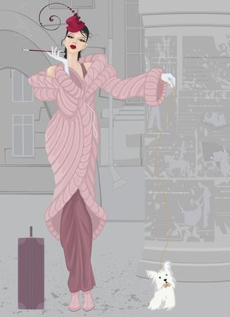 chica fumando: Hermosa mujer joven elegante abrigo de piel en color rosa con un pequeño perro lanudo