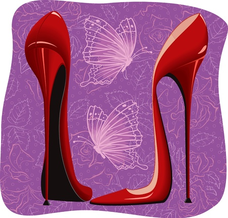 Killer high heels red shoes and flying butterflies on purple floral background Stock Vector - 11662642
