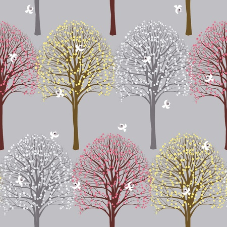 Seamless spring pattern with flowering trees Vector