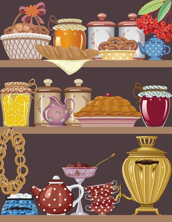 russian cuisine: Shelves of a buffet with jars of homemade jams, bakery, teapot, teacups and gold russian samovar