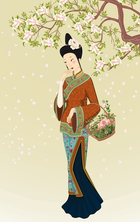 Chinese woman in traditional clothing with basket of flowers walking under blooming tree Vector