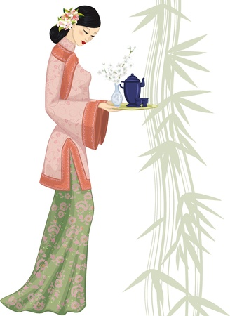 vase of flowers: Beautiful chinese young woman holding a tray with a tea set