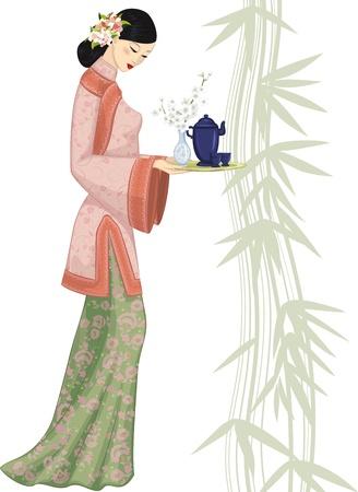 chinese tea cup: Hermosa mujer china joven que sostiene una bandeja con un juego de t�