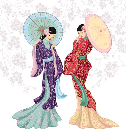 antique fashion: Two beautiful Chinese women with umbrellas isolated over white Illustration