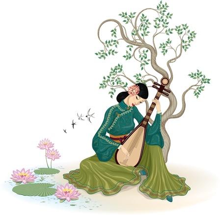 mujer china: Mujer china hermosa que se sienta y tocando el instrumento musical tradicional chino en el jard�n