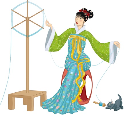 yarns: Beautiful Chinese woman sitting at a spinning wheel  and making a spool of silk thread and kitten playing with falling spool next to her. Illustration