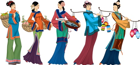 china art: Beautiful Chinese sellers with goods over white background. Illustration