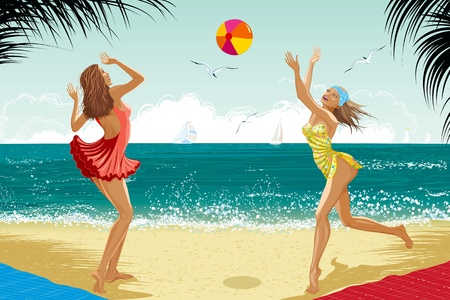 Two beautiful girls dressed in a retro style bathing suits playing a ball at a beach