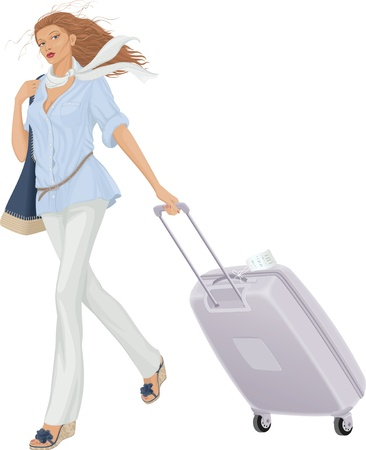 viaje de negocios: Ilustraci�n vectorial de una mujer que caminaba con la maleta sobre fondo blanco