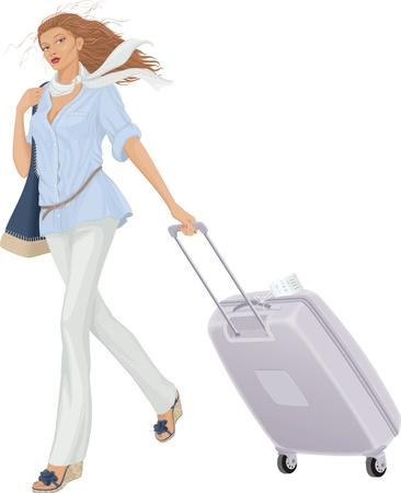 reiziger: Vector illustratie van een vrouw lopen met koffer op witte achtergrond