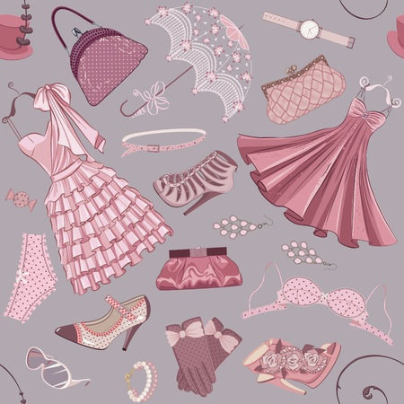 pink dress: Seamless pattern with clothing