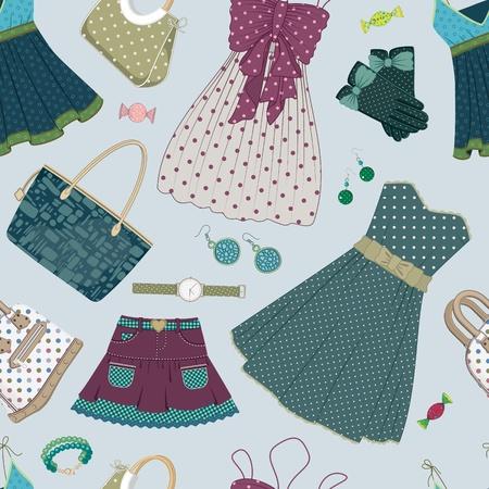гардероб: Бесшовные шаблон с одеждой